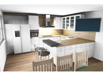 Neueste beiträge planungen · wohnung pegnitz kompletter umbau · dachbodenausbau · küche weiße küche mit dunkler holzarbeitsfläche